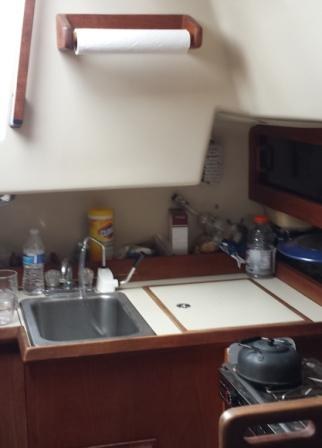 Galley sink with hand pump